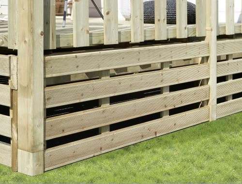 Kit complet soubassements terrasse mobil home, Bois standard