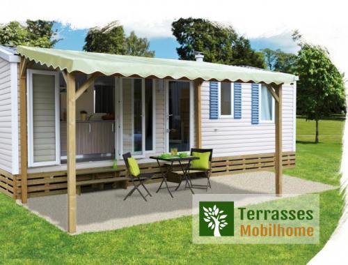 Pergola pour terrasse de mobil-home + bâche de toit en PVC