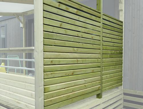Pare-vue terrasse mobil home, côté couvert, poteaux 95 x 68mm
