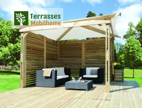 Tonnelle en bois pour mobil home ou terrasse, Kiosque de Clairval