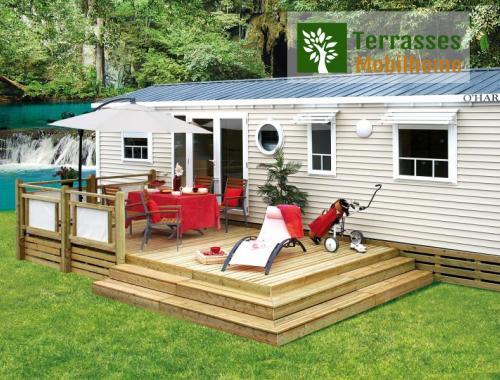terrasse mobil home avec superbe style podium nouvelle génération