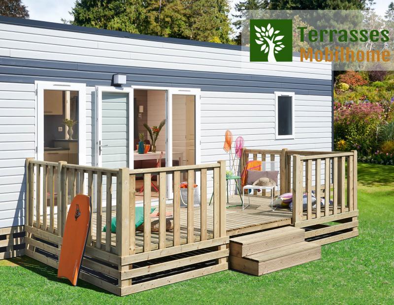 terrasse mobil home simple, meilleur rapport qualité / prix