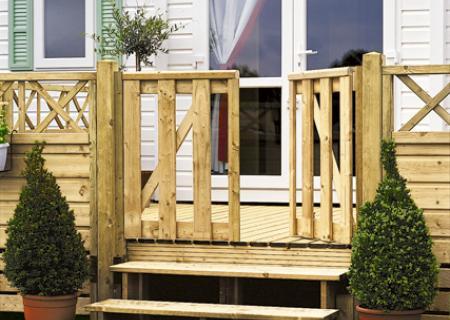 Portillon en bois pour terrasse de mobil home, CLAIRVAL