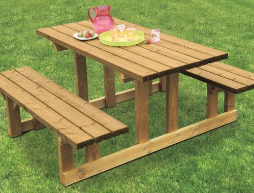 Table Relax en bois avec plateau 150 x 150cm - 4/6 places