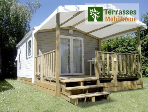 terrasse pignon, terrasse mobil home pour ouverture sur pignon