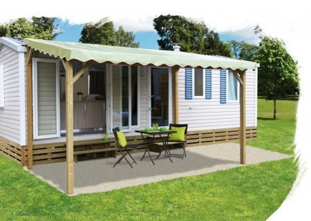 Pergola pour terrasse mobil home + bâche de toit PVC ( à poser au sol ou sur terrasse basse)