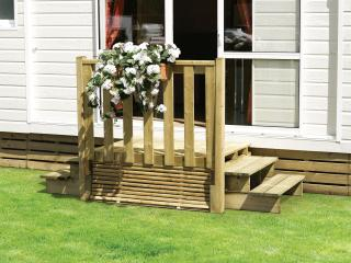 Perron d'entrée en bois pour mobil-home - 2 escaliers