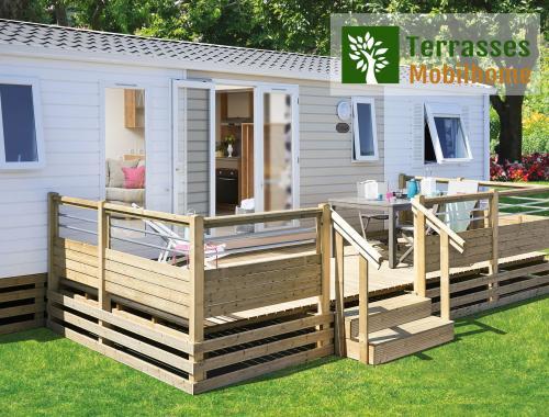 terrasse mobil home simple avec rambardes finition acier