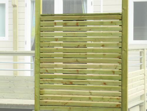 Pare-vue façade terrasse mobil home, poteaux 95 x 68mm
