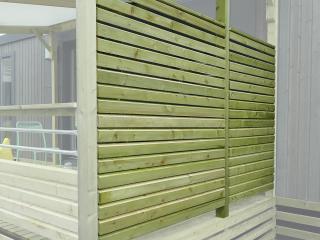Pare-vue terrasse mobil home, côté non couvert, poteaux 95 x 68mm