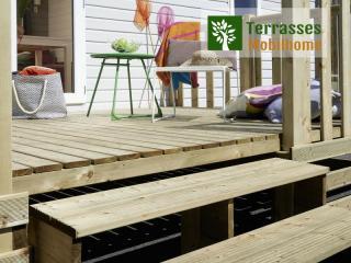 contremarche escalier terrasse mobil home pignon
