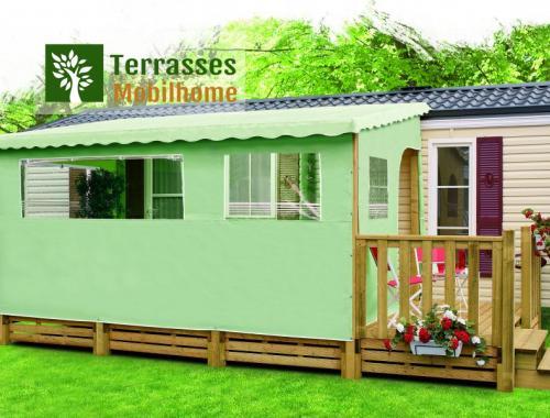 Bâche de façade en PVC pour terrasse de mobil-home, 4.50m