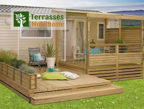 terrasse mobile home comtemporaine sur deux niveaux