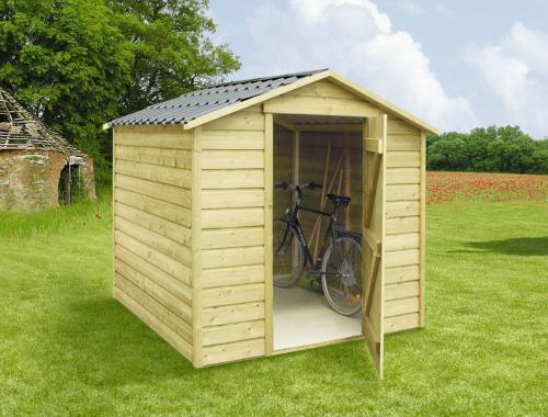 Abri en bois pour mobil-home avec toit 2 pentes / 4m², CLAIRVAL