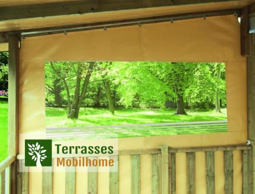 Joue de côté pour terrasse de mobil-home, matière PVC