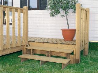 Sas d'entrée en bois pour terrasse de mobil home, Estival