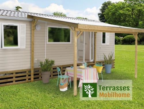 Pergola en bois pour terrasse de mobilhome + bâche de toit PVC SUN