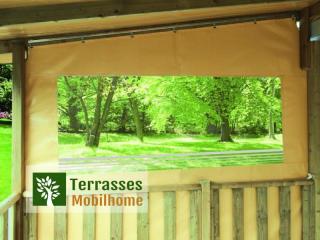 Joue de côté pour terrasse de mobil-home avec porte, matière PVC