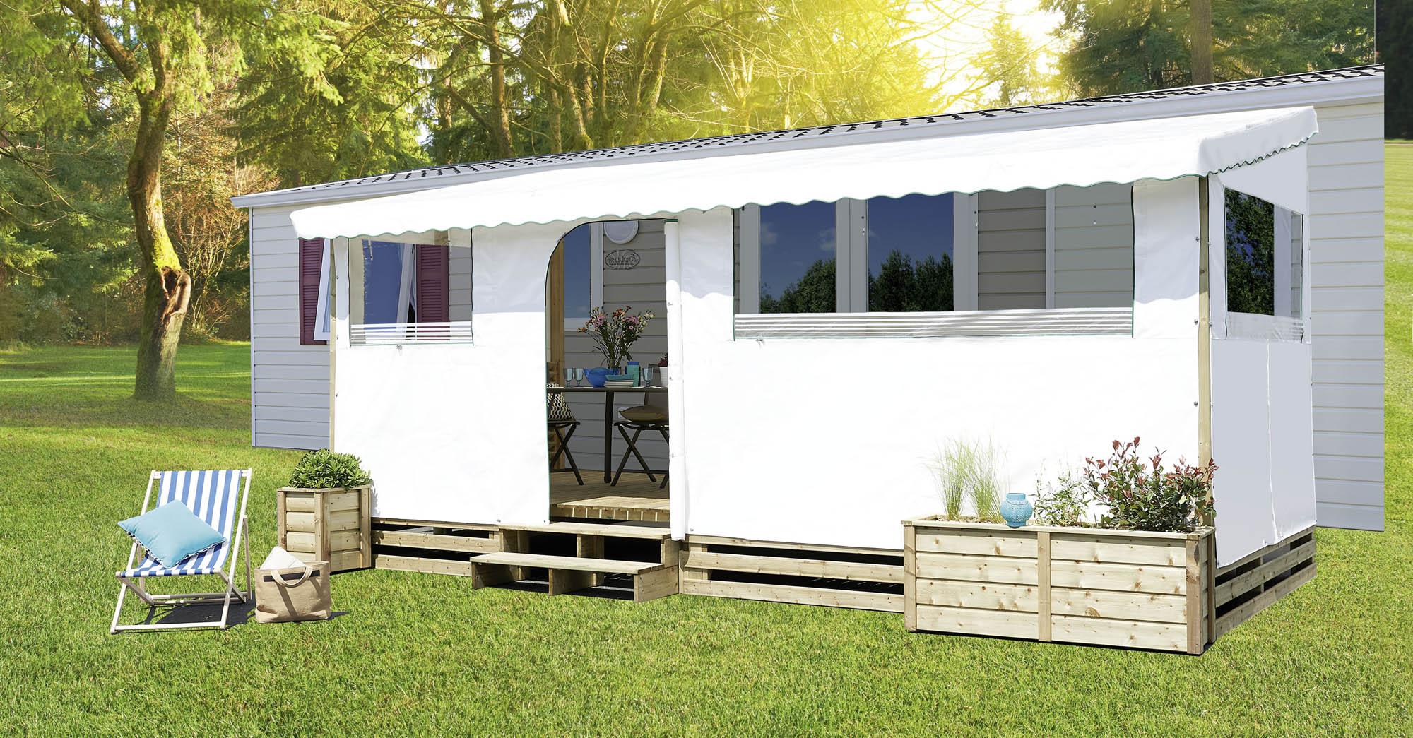B u00e2che sur mesure pour terrasse de mobil home (toit, joue, façade) # Terrasse En Bois Pour Mobil Home