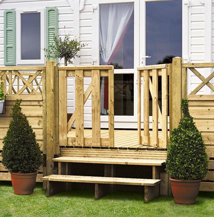 portillon en bois pour terrasse de mobil home clairval achat accessoire terrasse. Black Bedroom Furniture Sets. Home Design Ideas