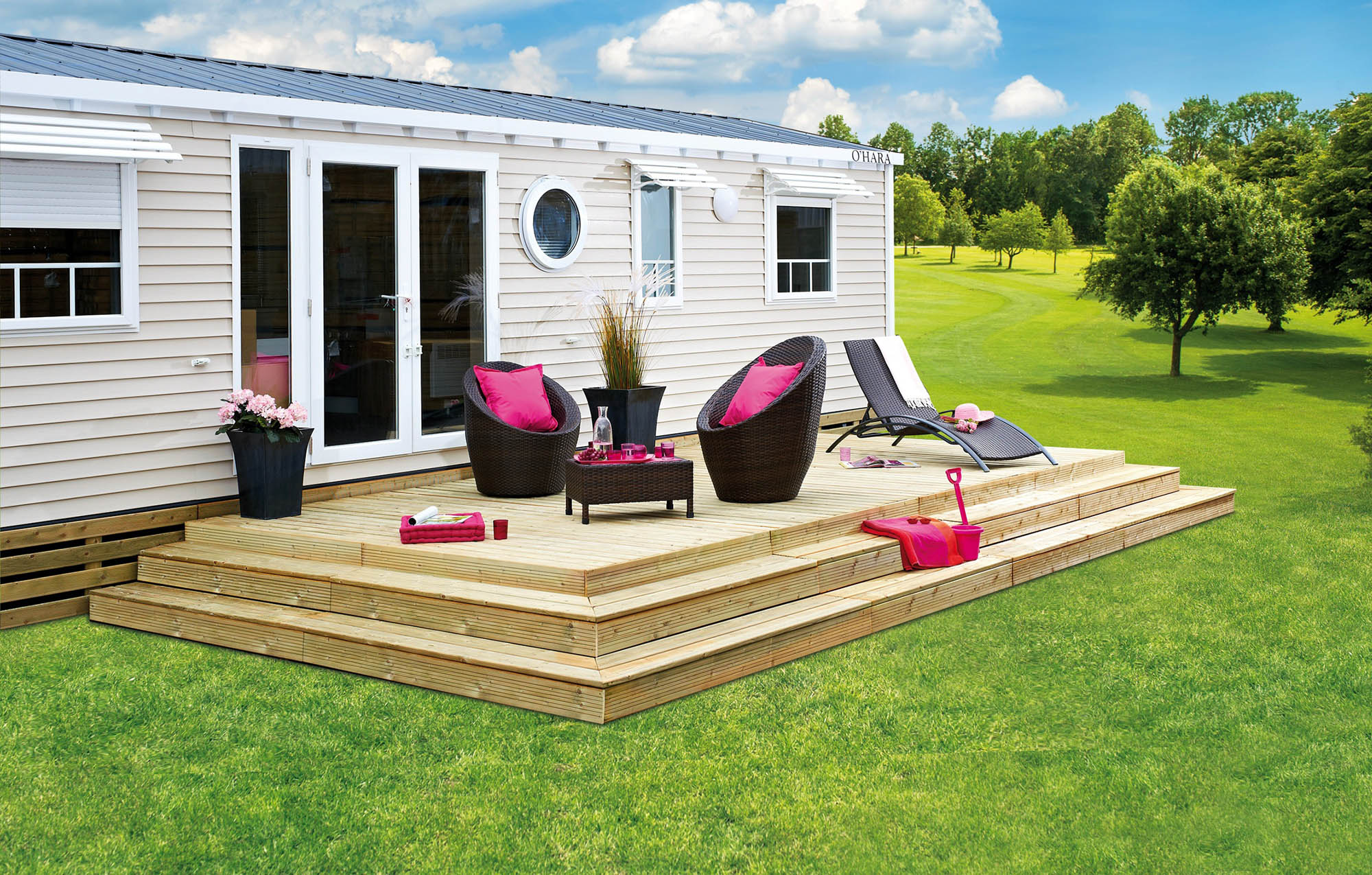 terrasse podium pour mobil home ibiza lattes. Black Bedroom Furniture Sets. Home Design Ideas