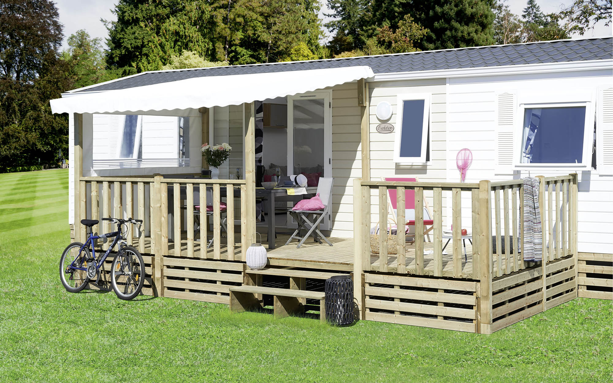 terrasse mobil home couverte semi couverte en bois coverluxe lattes. Black Bedroom Furniture Sets. Home Design Ideas