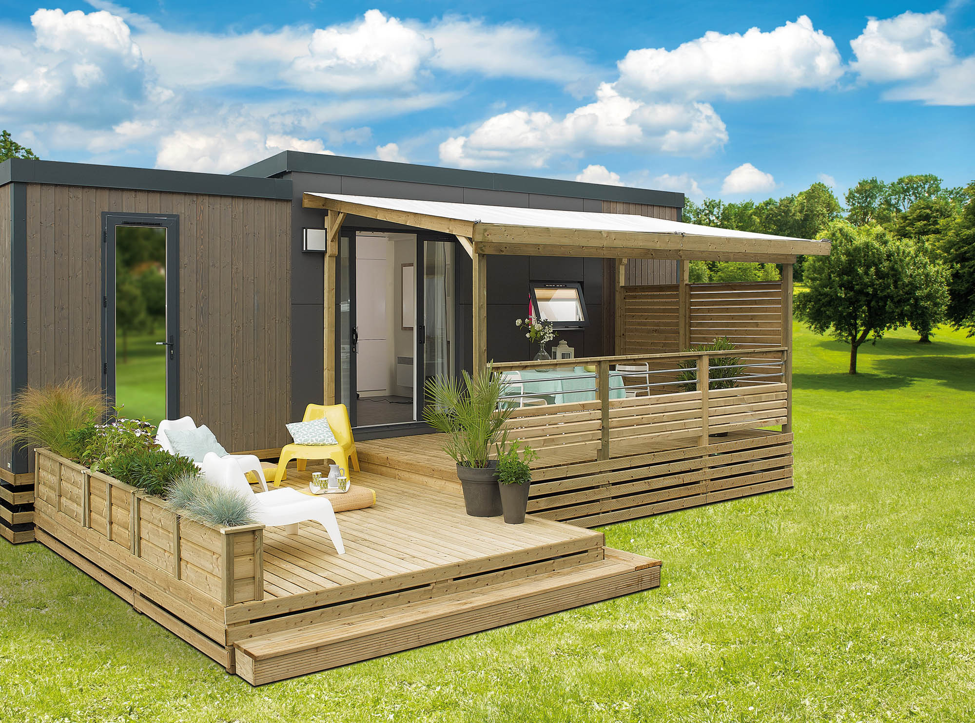 Terrasse couverte& semi couverte Terrasse bois mobil home All inclusive # Terrasse Bois Mobil Home