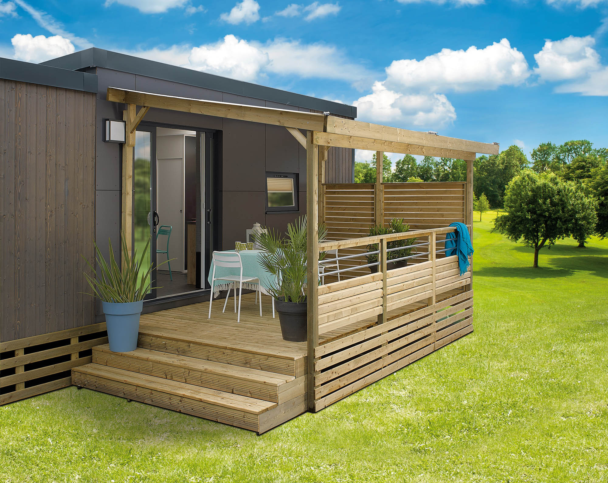 terrasse en bois couverte pour mobile home all inclusive 2748 lattes. Black Bedroom Furniture Sets. Home Design Ideas