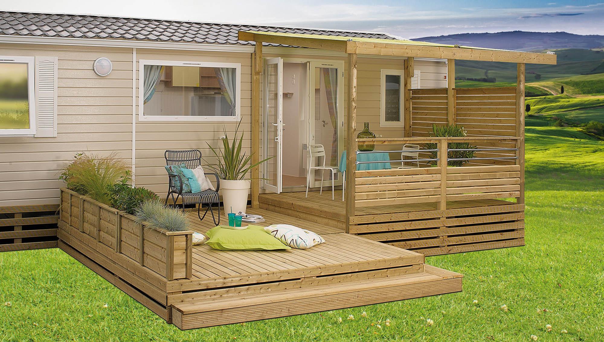 terrasse en bois pour mobil home id e int ressante pour la conception de meubles en bois qui. Black Bedroom Furniture Sets. Home Design Ideas