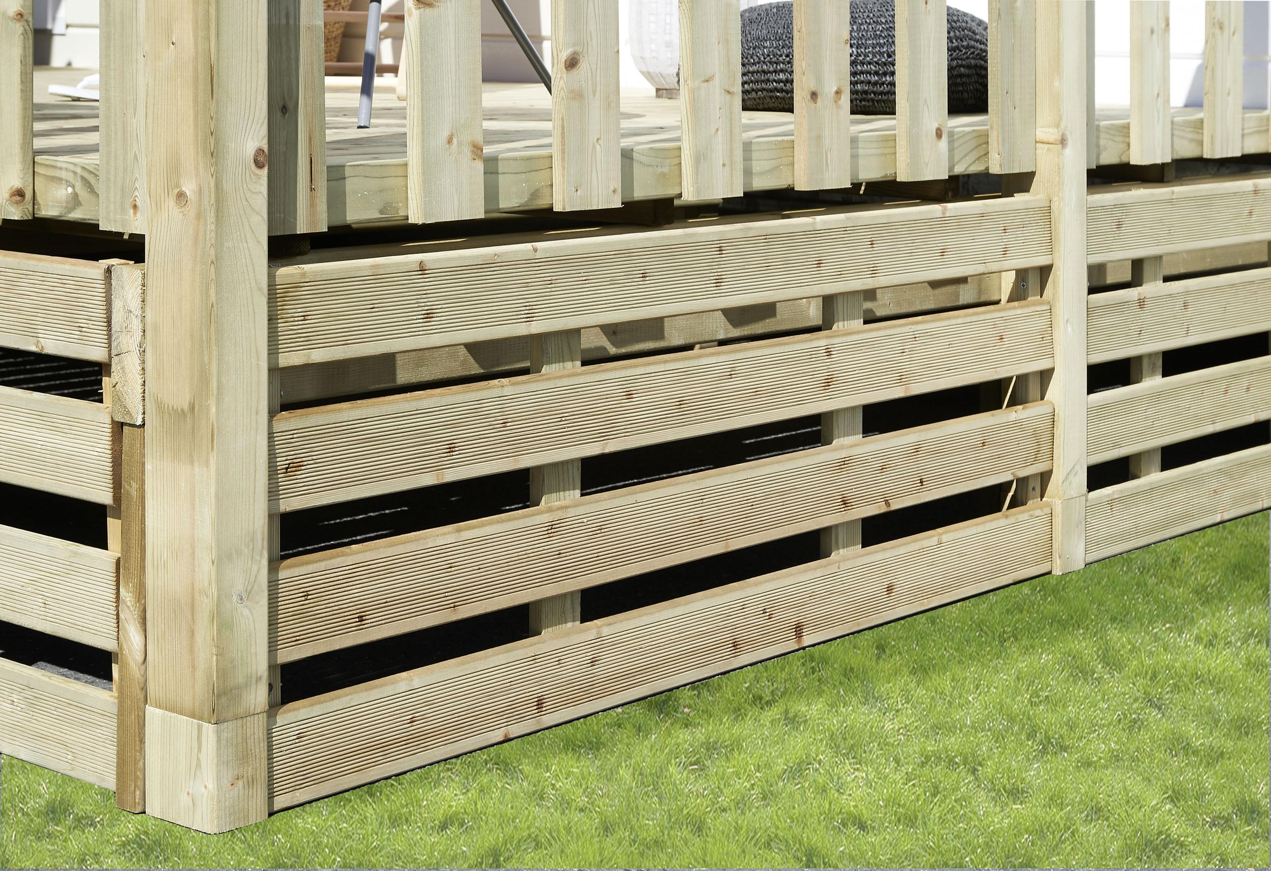Kit complet soubassement pour terrasse de mobil home bois standard - Soubassement bois kit ...