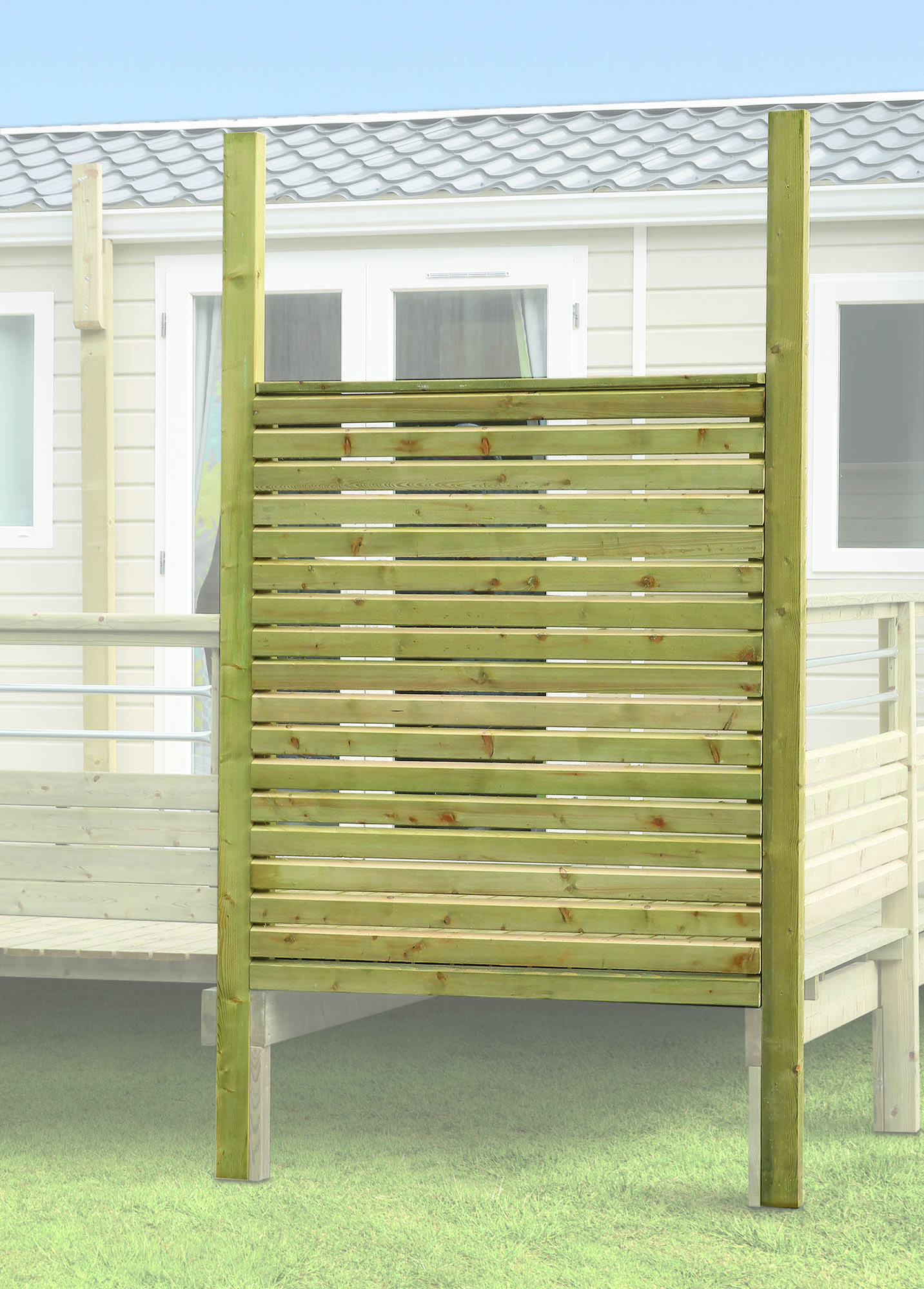 pare vue persienne pour fa ade de terrasse poteaux 95 x. Black Bedroom Furniture Sets. Home Design Ideas